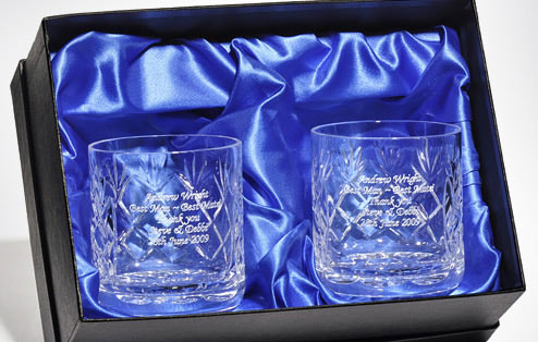 Personalised Engraved Cut Crystal Whisky Tumblers